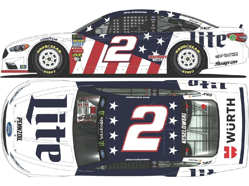 Discount Tire Nascar >> Brad Keselowski 2018 Miller Lite Patriotic 1:24 Nascar Diecast - At The Track Racing Collectibles